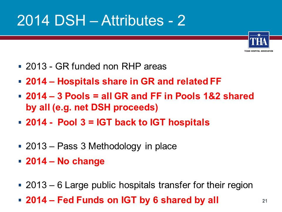 2014 DSH – Attributes - 2 2013 - GR funded non RHP areas