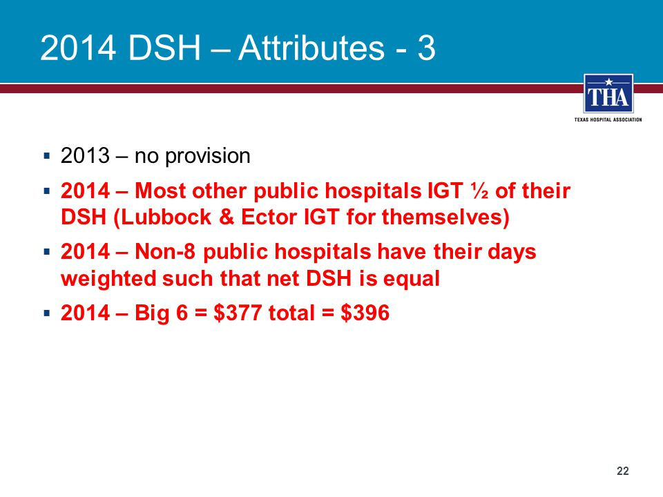 2014 DSH – Attributes - 3 2013 – no provision