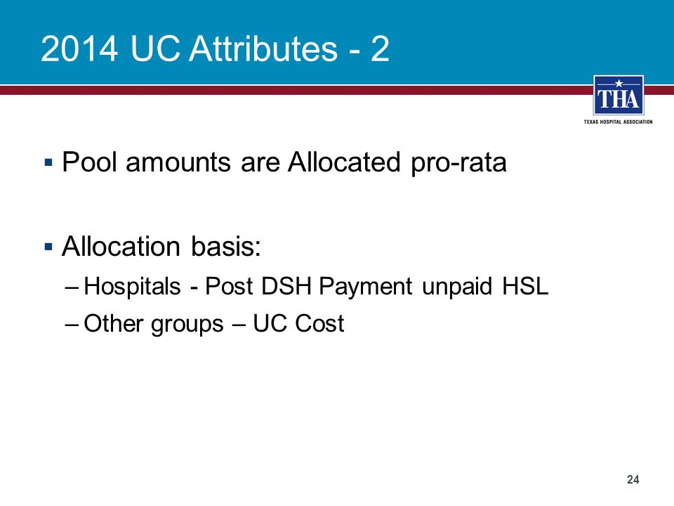 2014 UC Attributes - 2 Pool amounts are Allocated pro-rata
