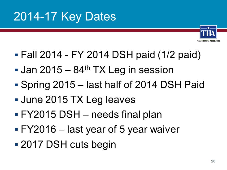 2014-17 Key Dates Fall 2014 - FY 2014 DSH paid (1/2 paid)
