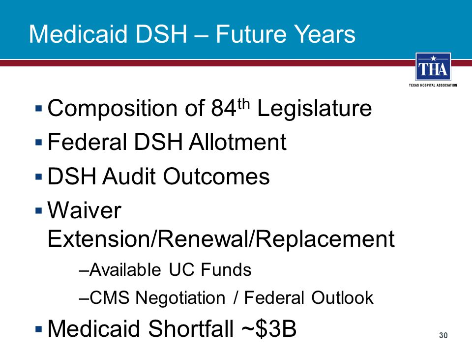 Medicaid DSH – Future Years