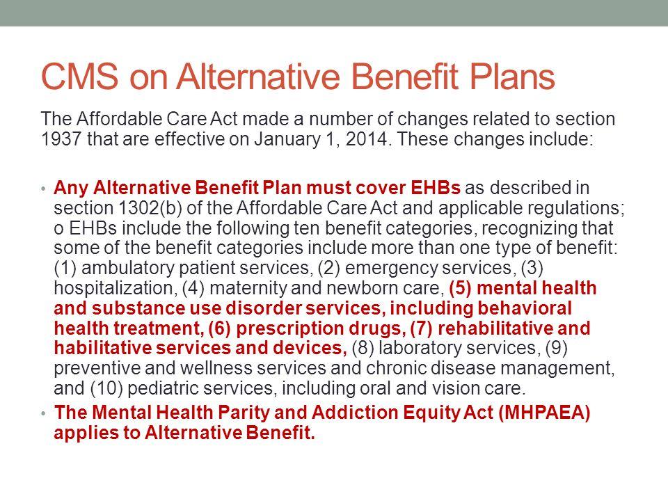 CMS on Alternative Benefit Plans