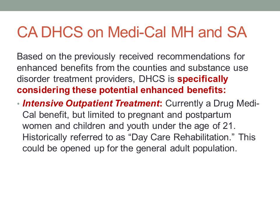 CA DHCS on Medi-Cal MH and SA