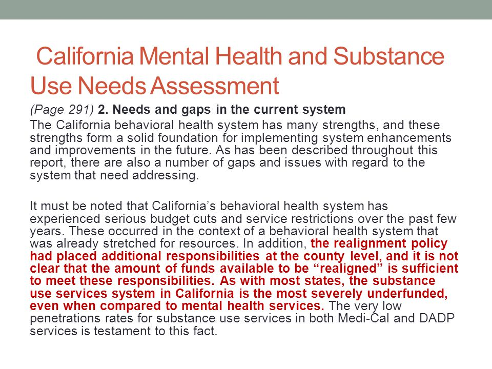 California Mental Health and Substance Use Needs Assessment