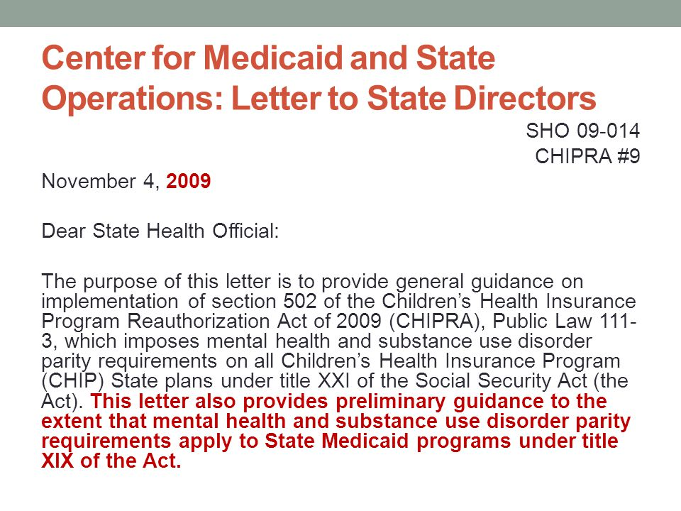 Center for Medicaid and State Operations: Letter to State Directors