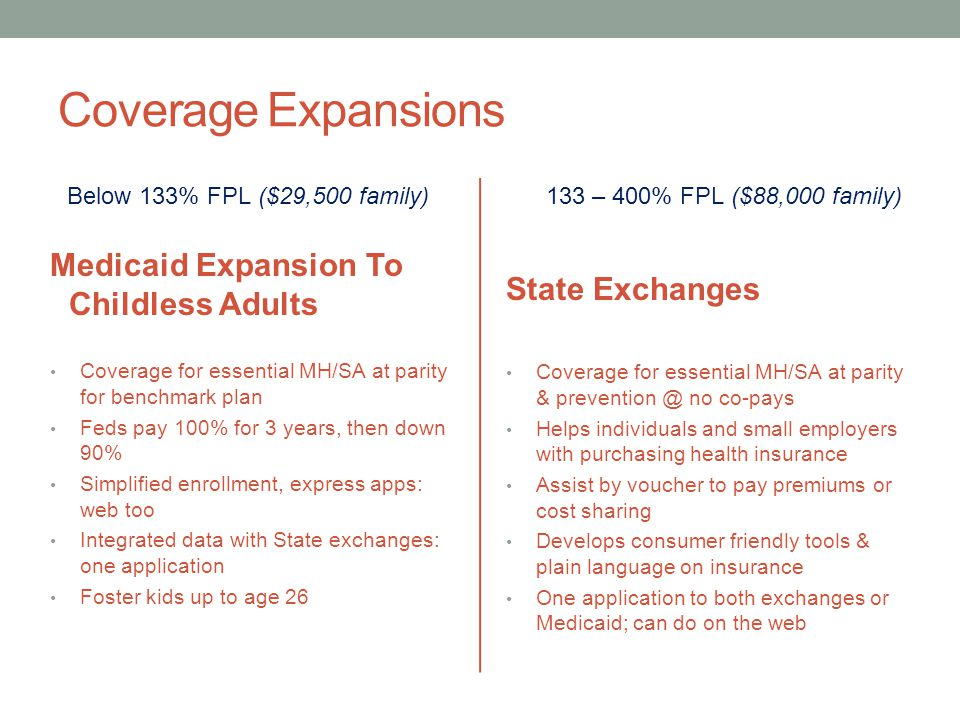 Coverage Expansions Medicaid Expansion To Childless Adults