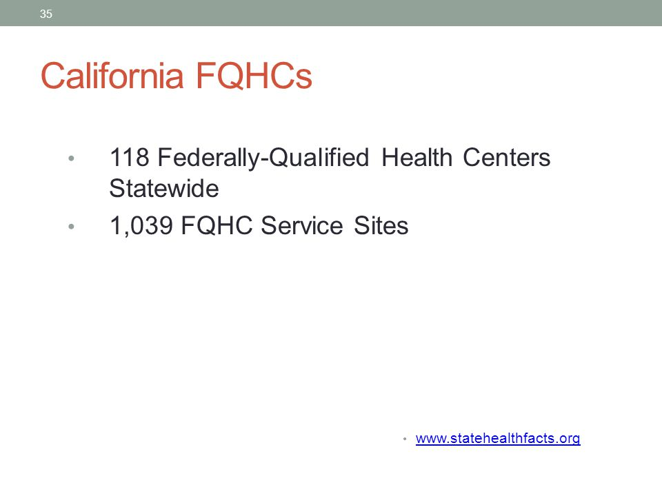 California FQHCs 118 Federally-Qualified Health Centers Statewide