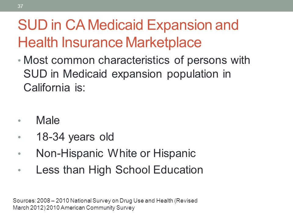SUD in CA Medicaid Expansion and Health Insurance Marketplace