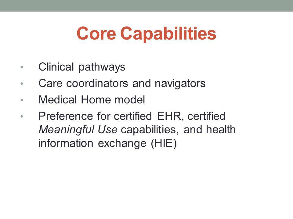 Core Capabilities Clinical pathways Care coordinators and navigators