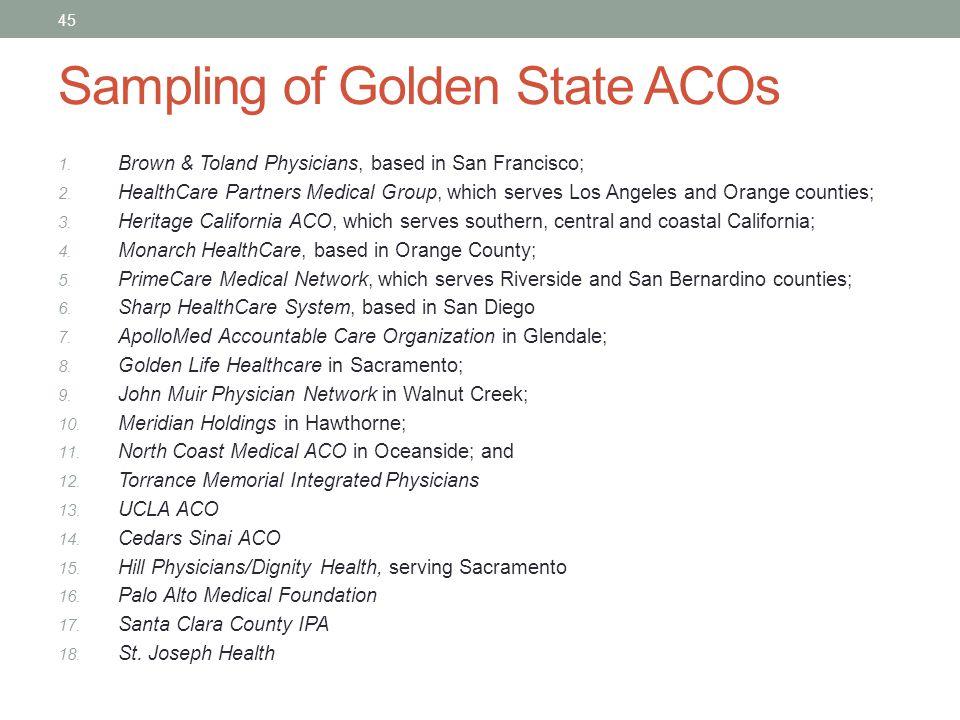 Sampling of Golden State ACOs