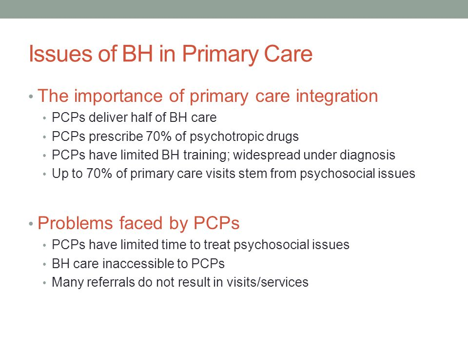 Issues of BH in Primary Care