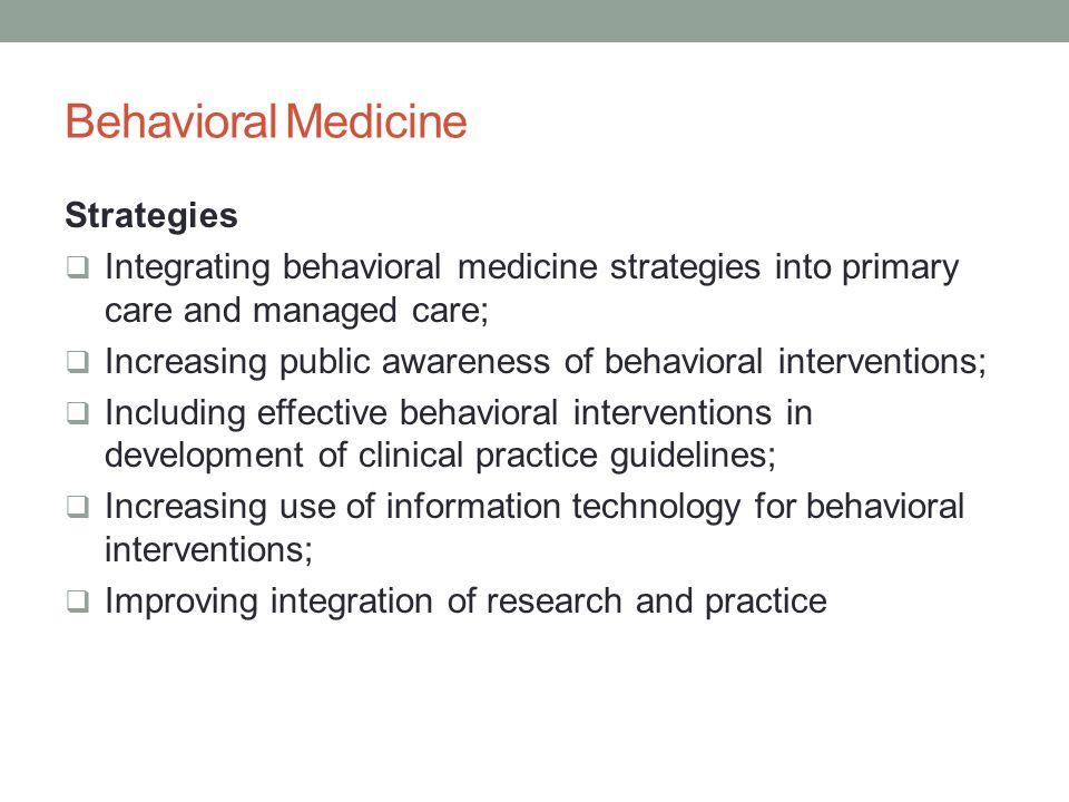 Behavioral Medicine Strategies