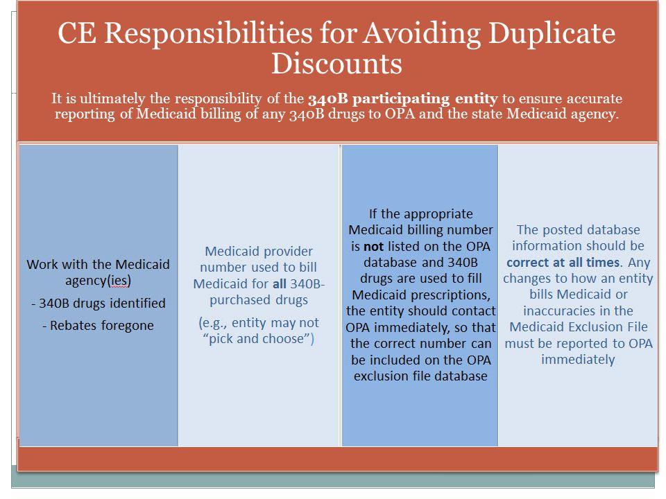CE Responsibilities for Avoiding Duplicate Discounts