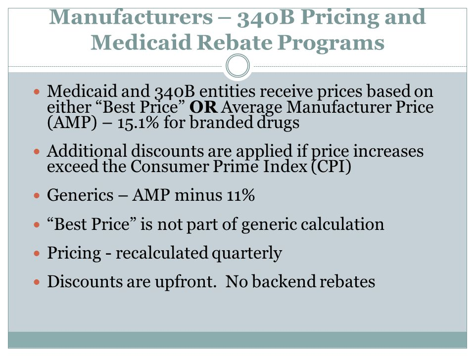Manufacturers – 340B Pricing and Medicaid Rebate Programs