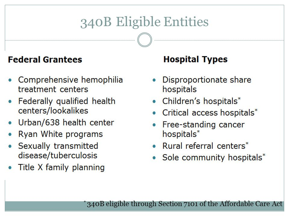 * 340B eligible through Section 7101 of the Affordable Care Act