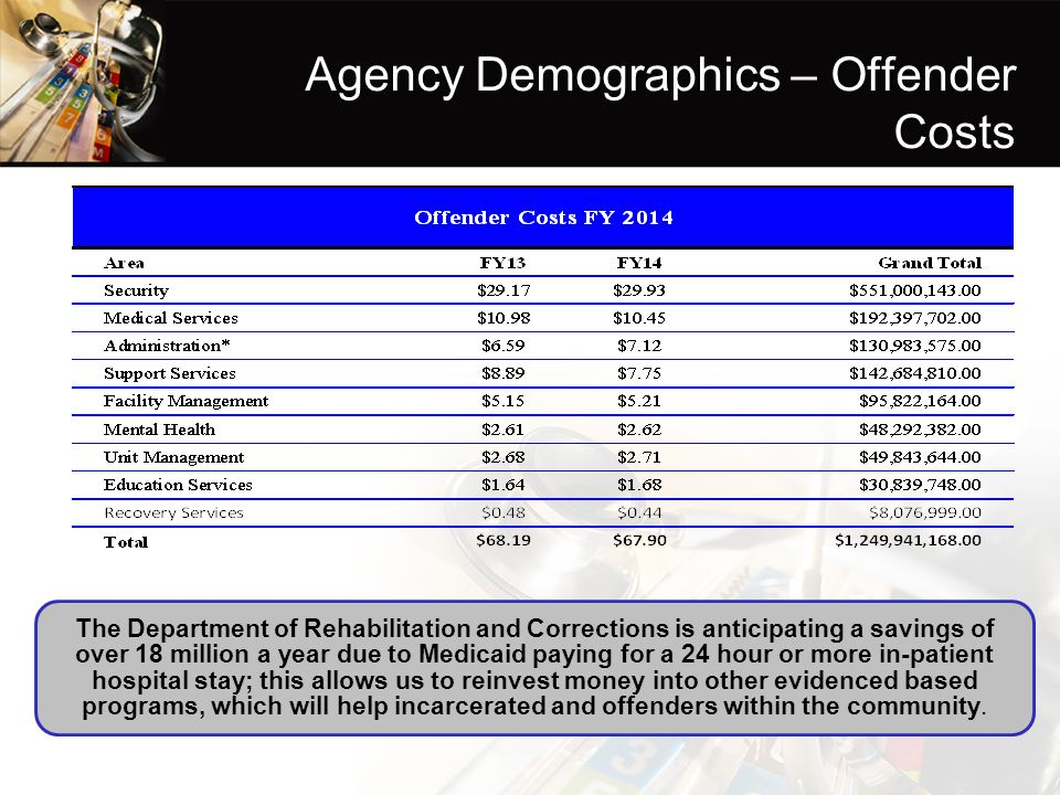 Agency Demographics – Offender Costs
