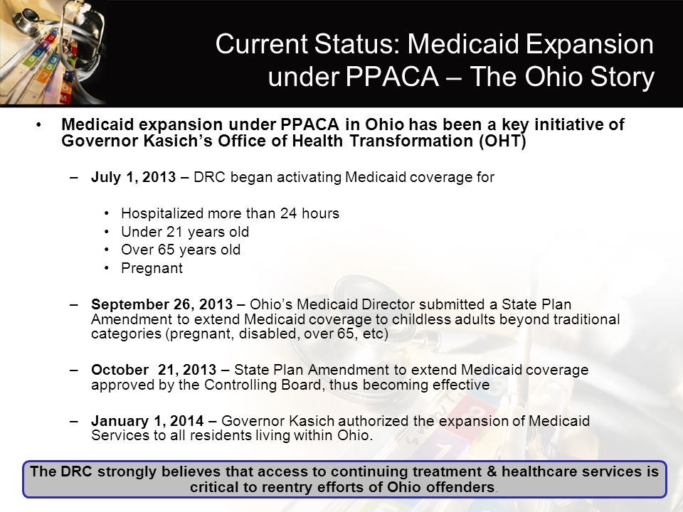 Current Status: Medicaid Expansion under PPACA – The Ohio Story