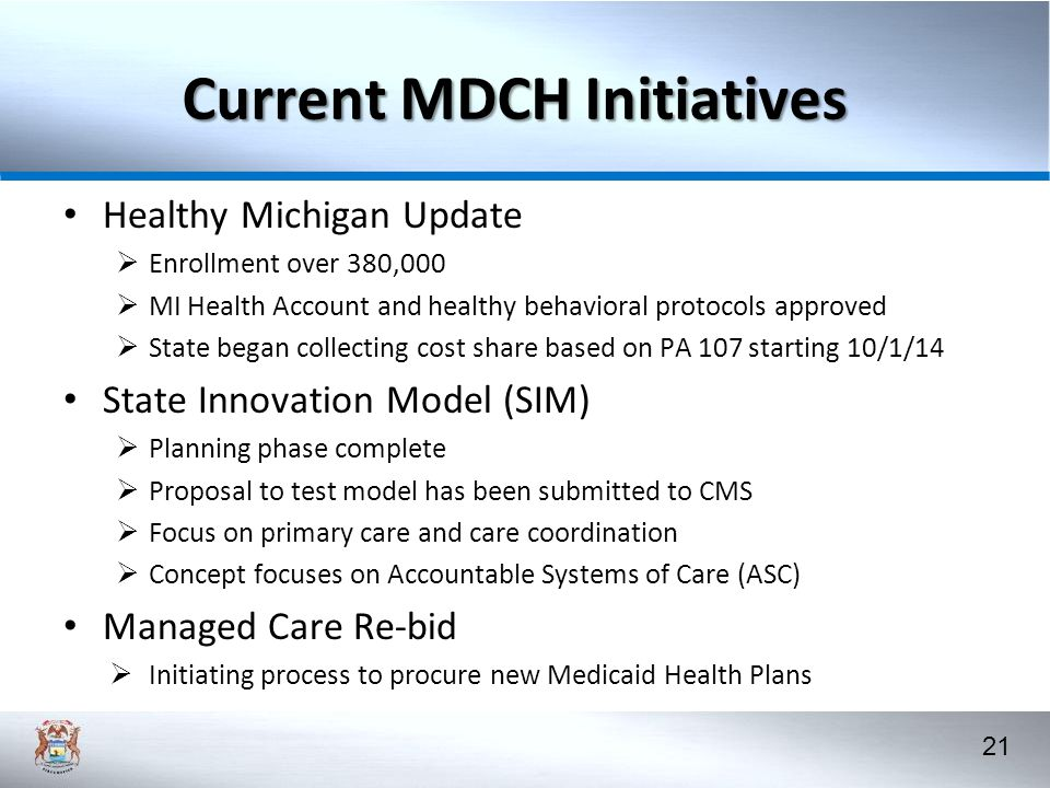 Current MDCH Initiatives