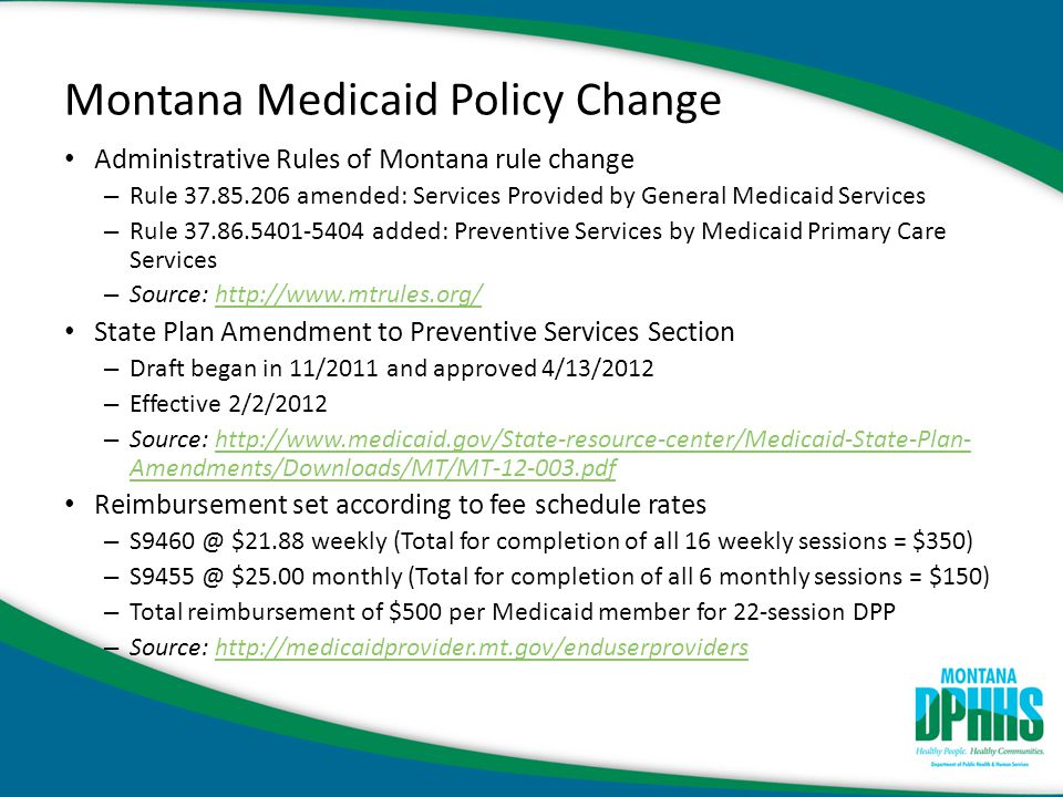 Montana Medicaid Policy Change