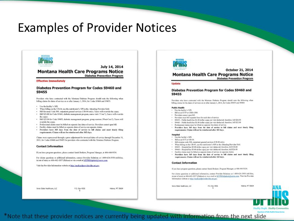 Examples of Provider Notices