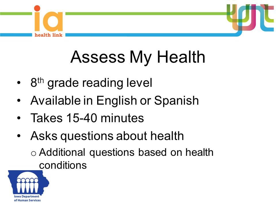 Assess My Health 8th grade reading level