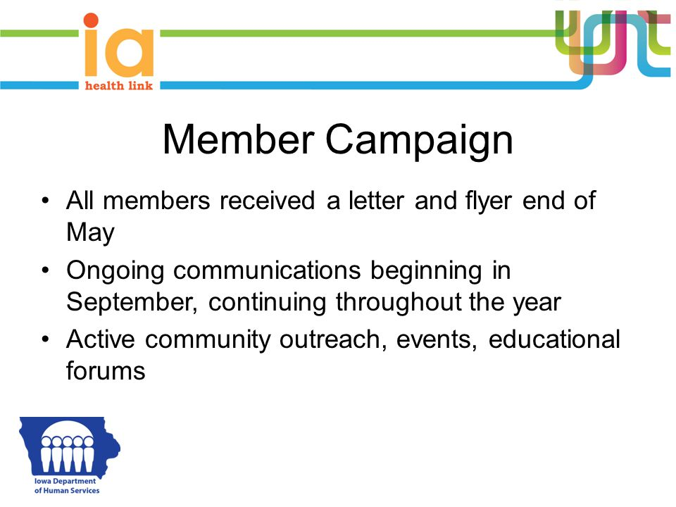 Member Campaign All members received a letter and flyer end of May