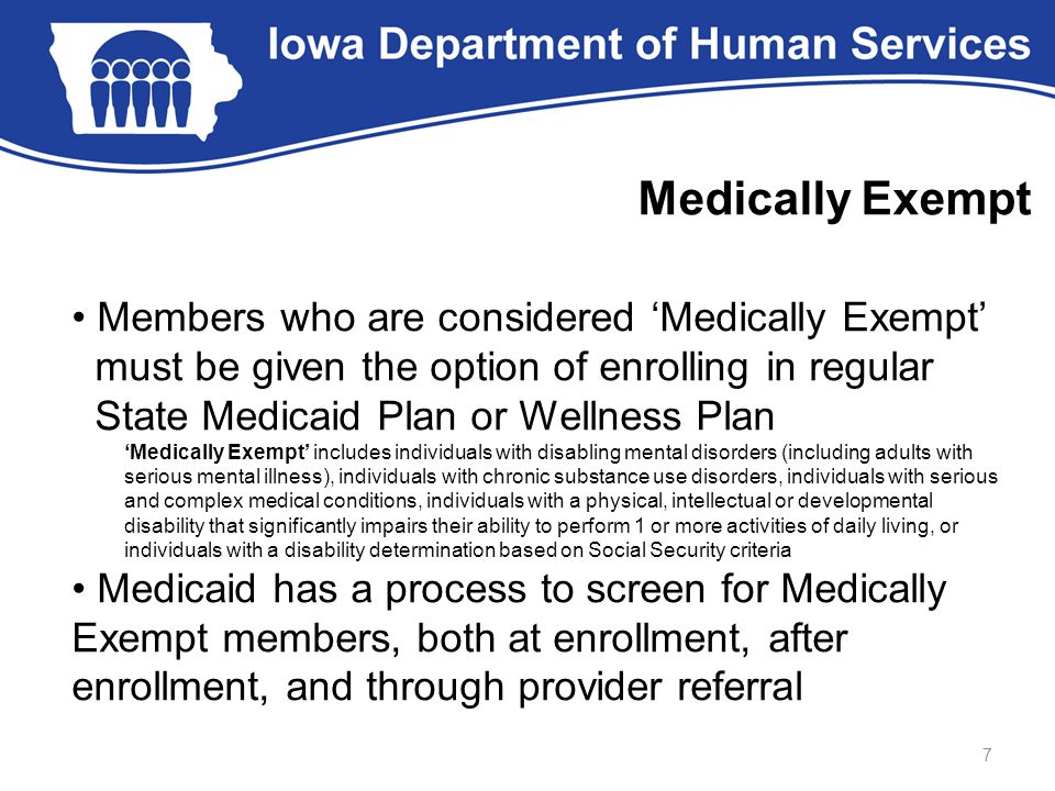 Medically Exempt • Members who are considered 'Medically Exempt'