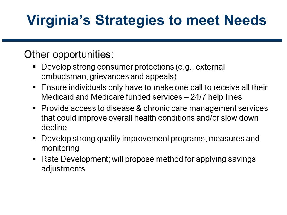 Virginia's Strategies to meet Needs