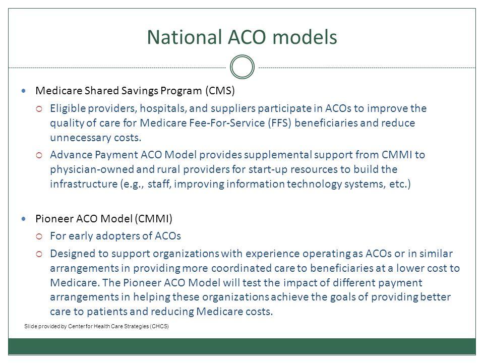 National ACO models Medicare Shared Savings Program (CMS)
