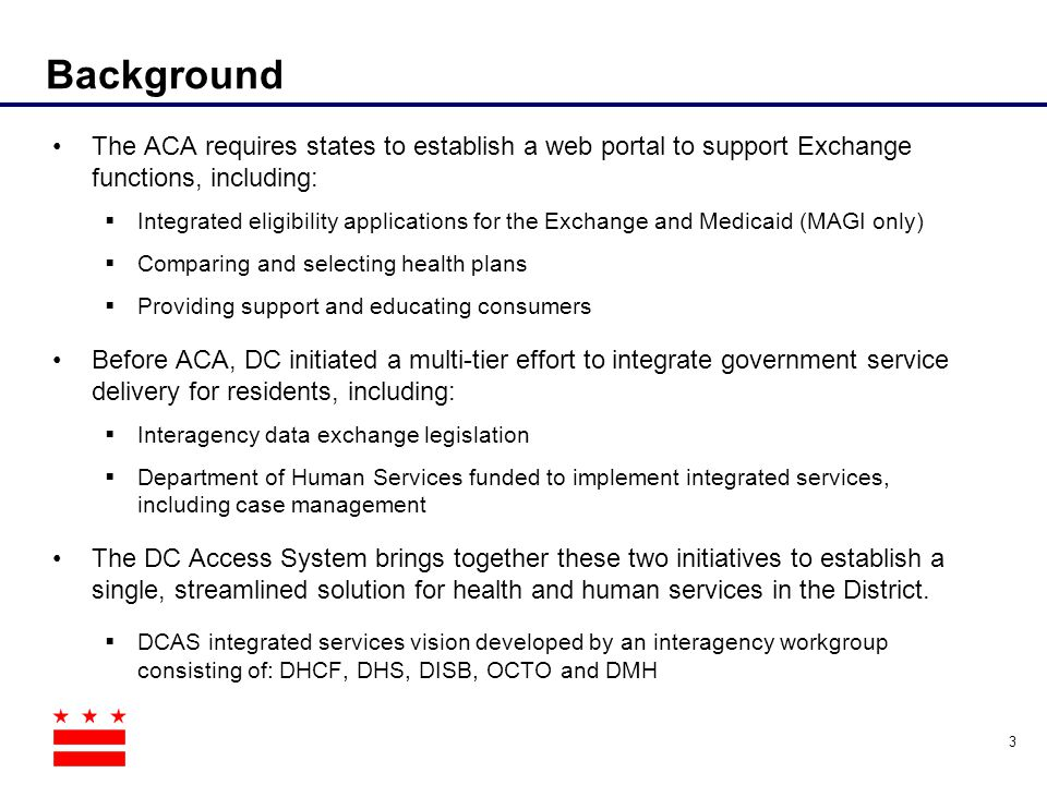 Background The ACA requires states to establish a web portal to support Exchange functions, including: