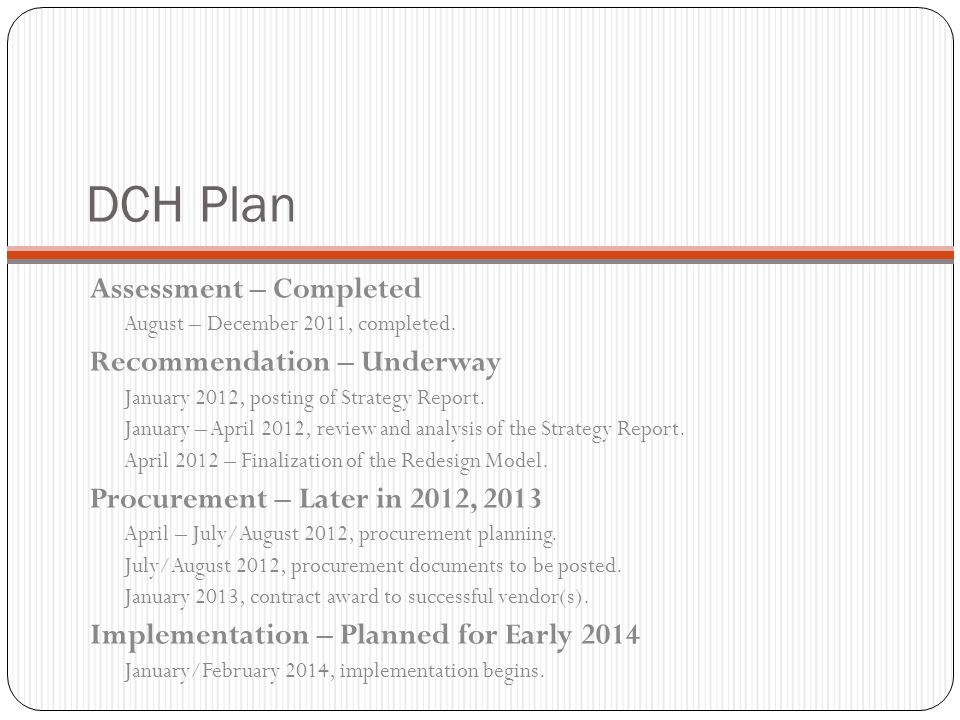 DCH Plan Assessment – Completed Recommendation – Underway