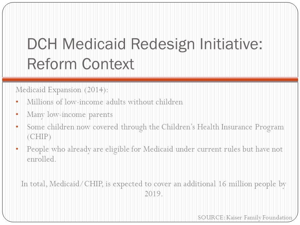DCH Medicaid Redesign Initiative: Reform Context