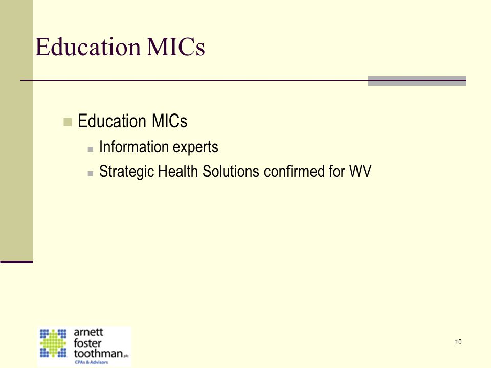 Education MICs Education MICs Information experts
