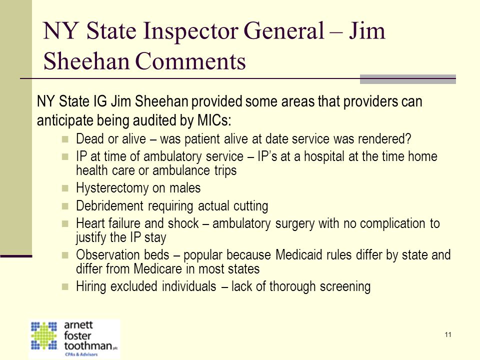 NY State Inspector General – Jim Sheehan Comments