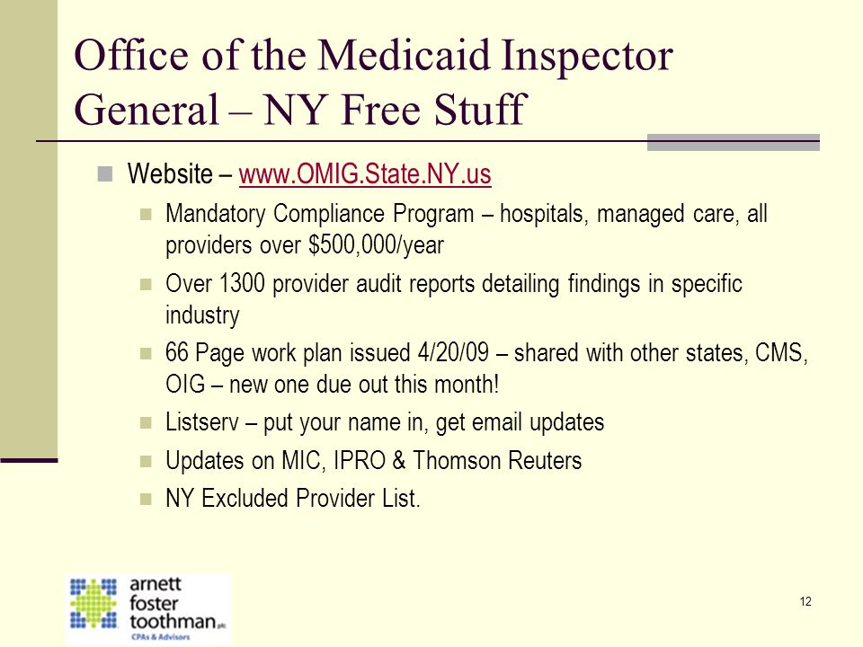 Office of the Medicaid Inspector General – NY Free Stuff