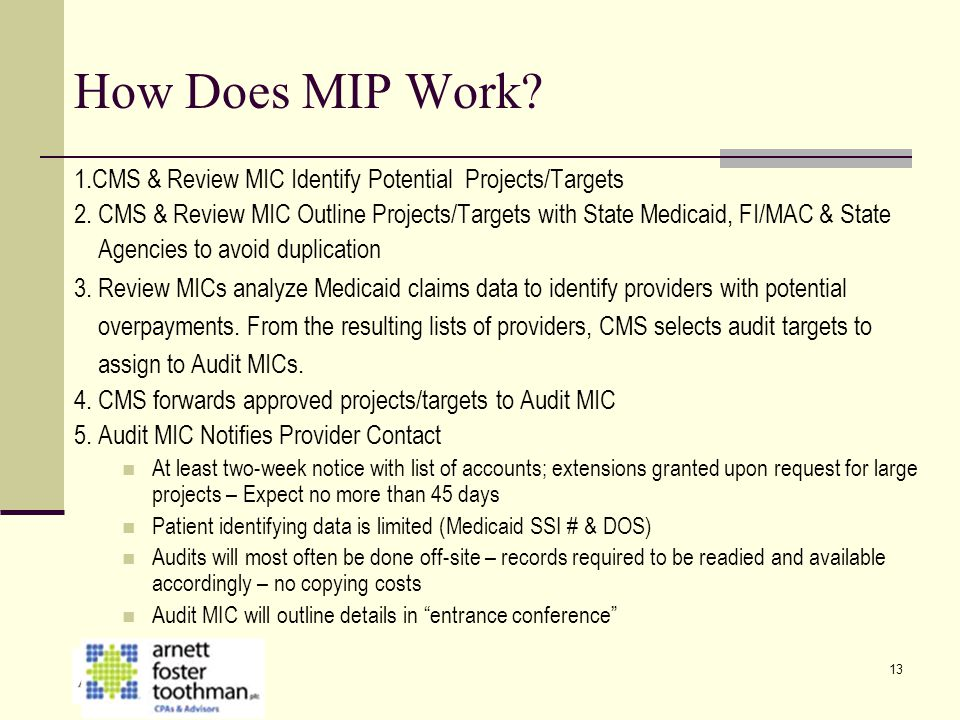 How Does MIP Work 1.CMS & Review MIC Identify Potential Projects/Targets.