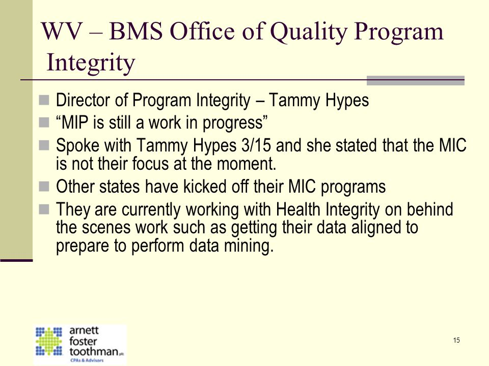 WV – BMS Office of Quality Program Integrity