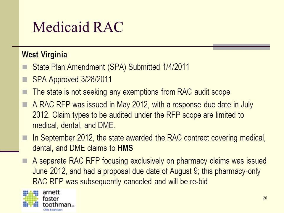 Medicaid RAC West Virginia