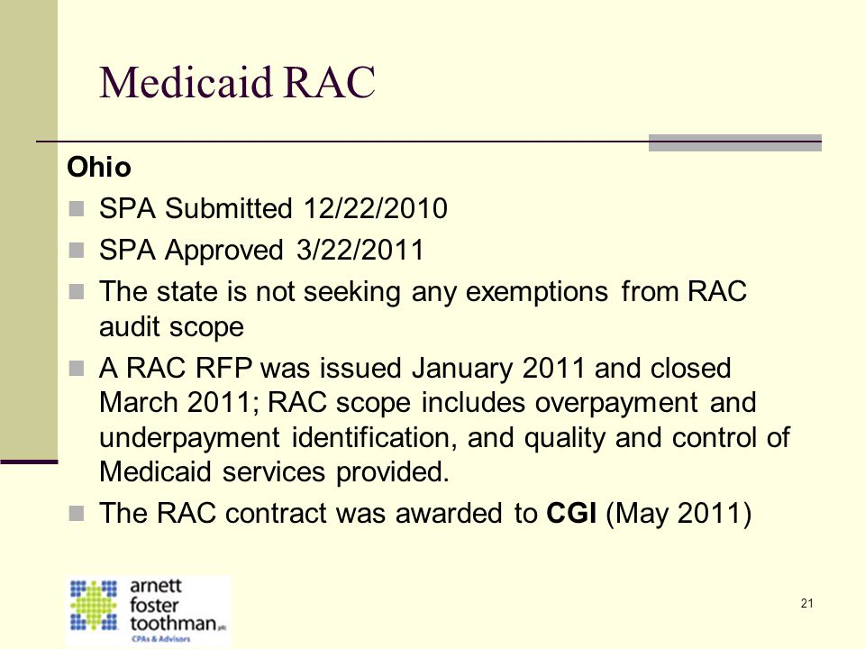 Medicaid RAC Ohio SPA Submitted 12/22/2010 SPA Approved 3/22/2011
