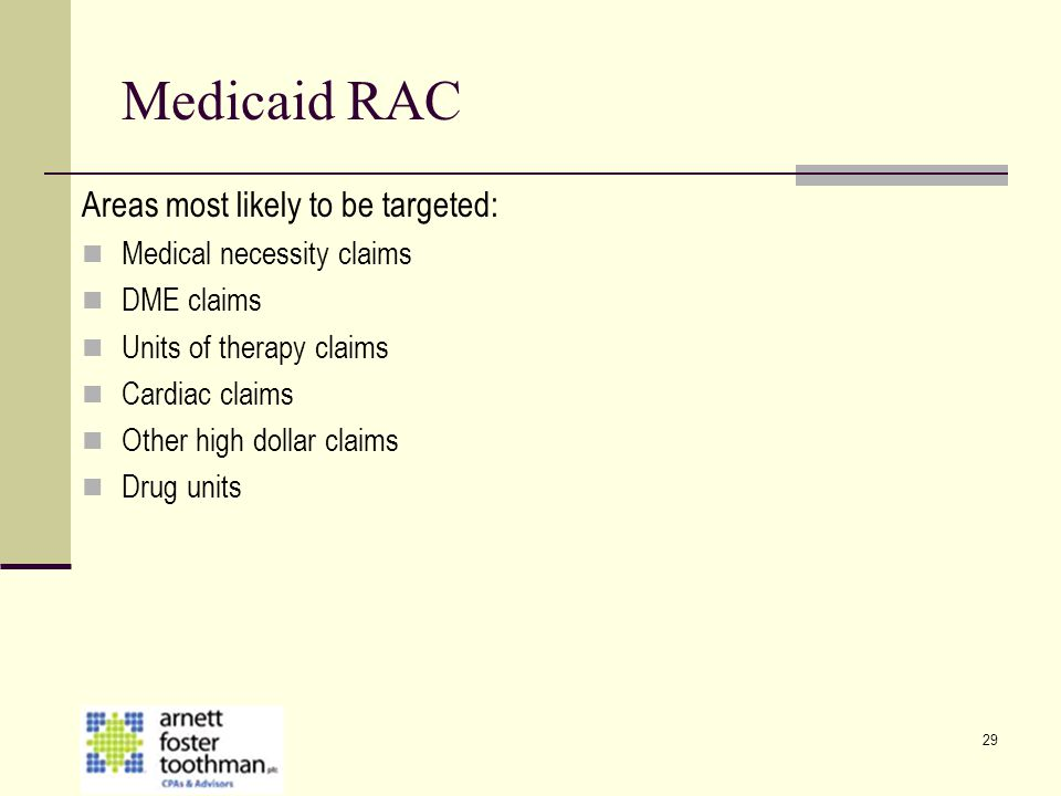 Medicaid RAC Areas most likely to be targeted: