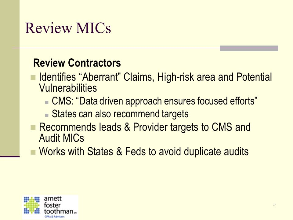Review MICs Review Contractors