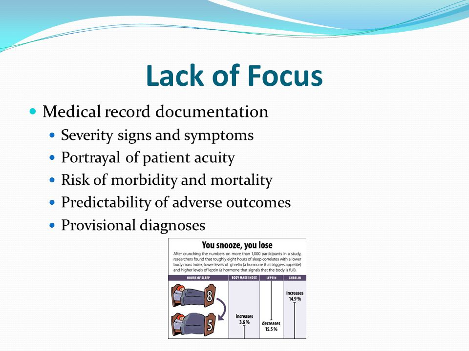 Lack of Focus Medical record documentation Severity signs and symptoms