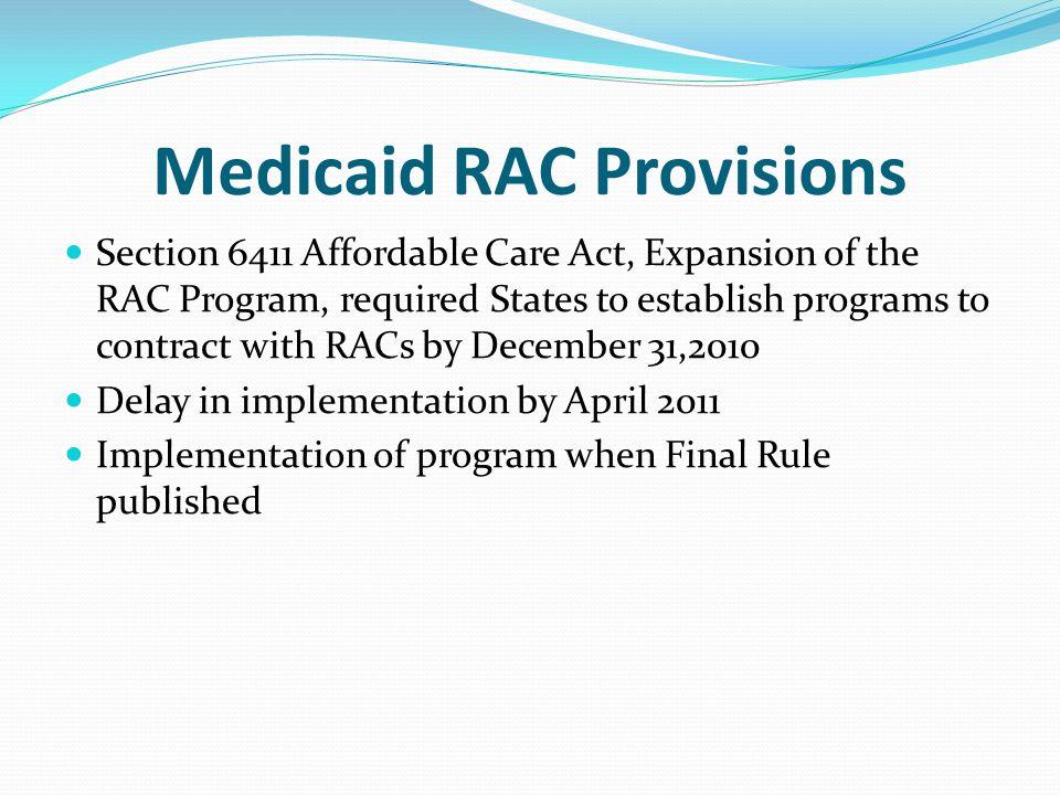Medicaid RAC Provisions