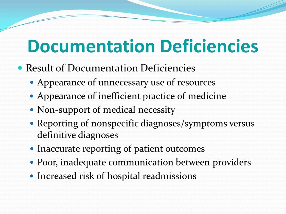 Documentation Deficiencies
