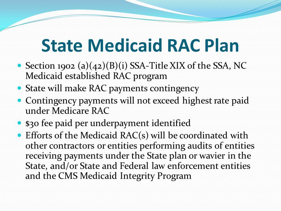 State Medicaid RAC Plan