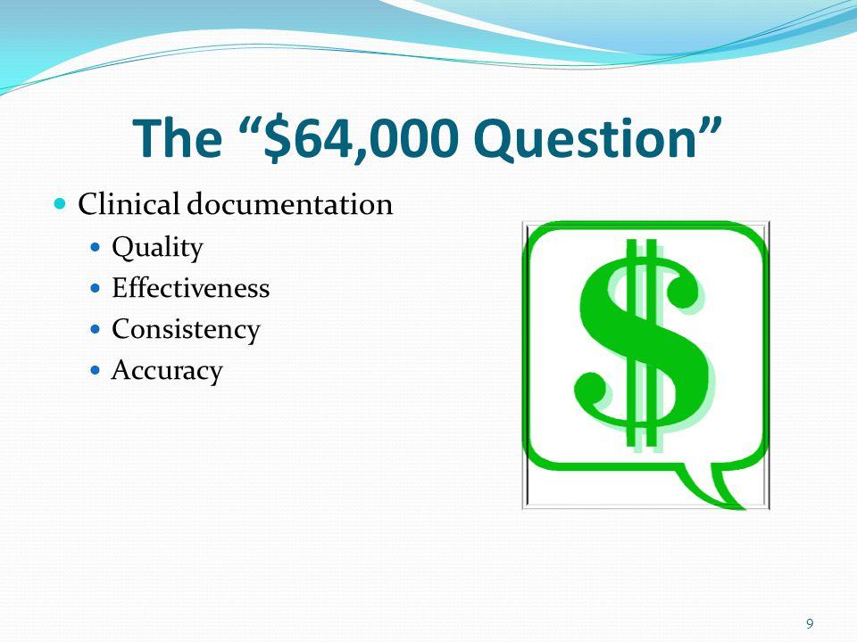 The $64,000 Question Clinical documentation Quality Effectiveness