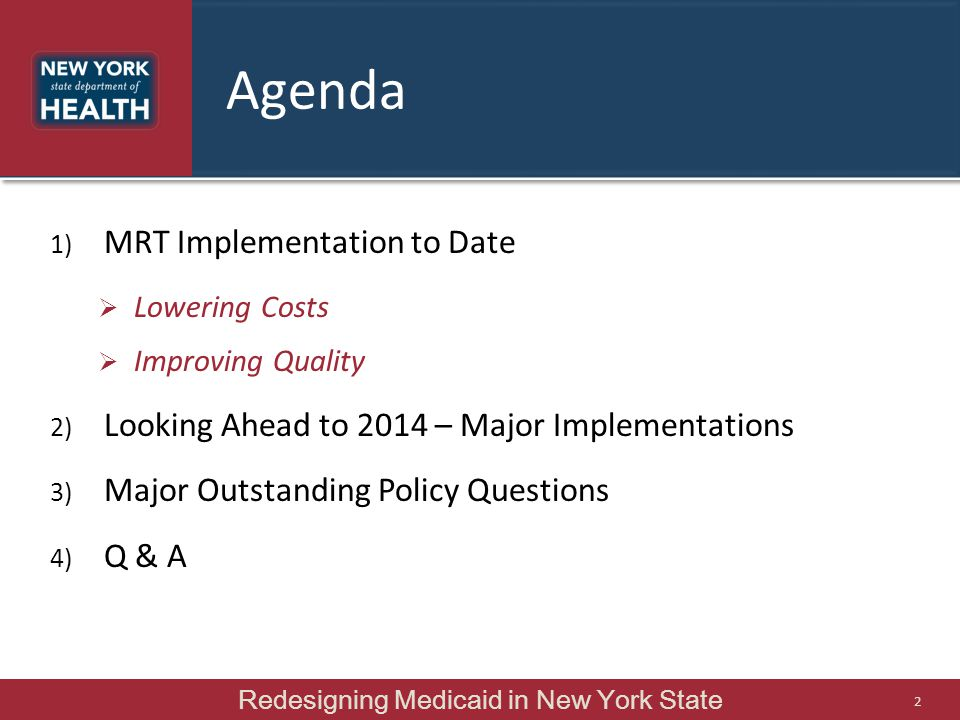 Redesigning Medicaid in New York State