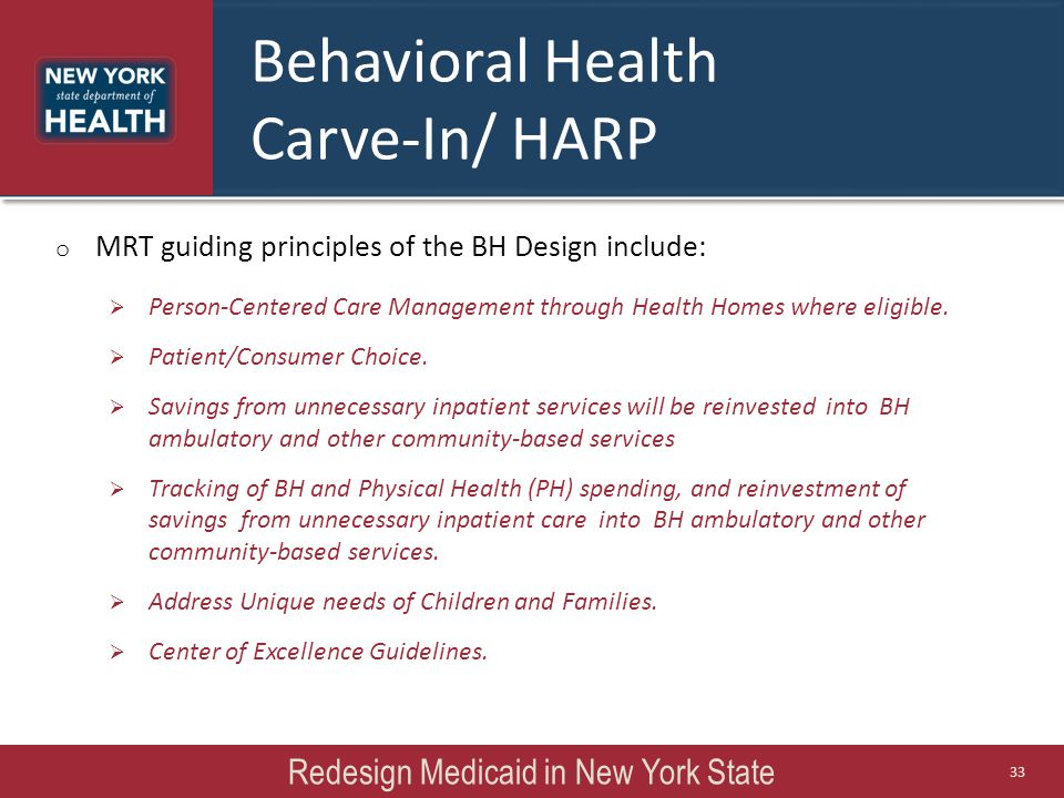 Behavioral Health Carve-In/ HARP