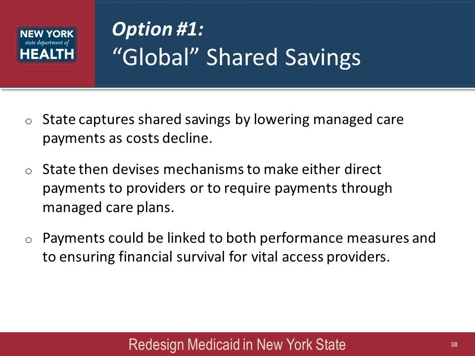 Option #1: Global Shared Savings