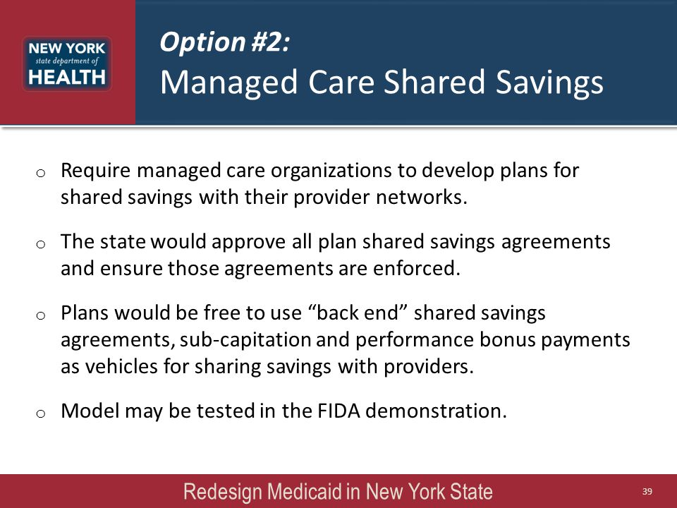 Option #2: Managed Care Shared Savings